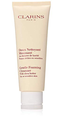 Clarins Gentle Foaming Cleanser with Shea Butter for Unisex, Dry|Sensitive Skin, 4.4 Ounce