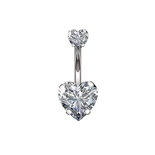 14G Double Heart Diamond Cubic Zirconia Navel Belly Button Ring Surgical Steel Piercing Jewelry (Steel(5/8mm))