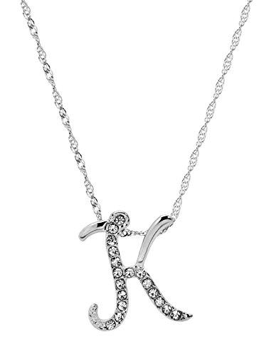 - Paialco Jewelry Diamante Initial Pendant Letter K Necklace