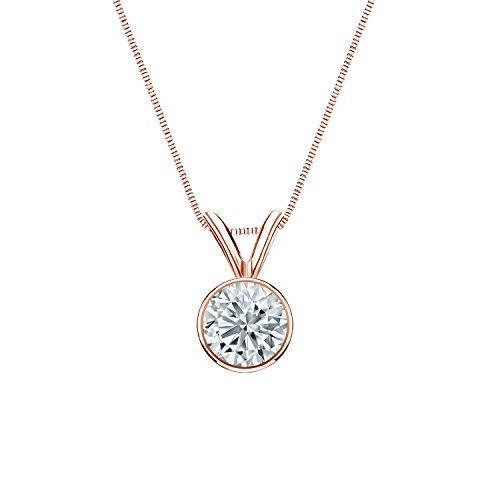 14k Rose Gold Bezel-set Round Diamond Solitaire Pendant (1/2 cttw, O.White, - Rose Cut Bezel Set