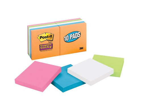 Post-it Super Sticky Notes, 3 x 3-Inches, Assorted Neon Colors, 10-Pads/Pack