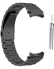 Gwteop Ersättningsband kompatibla för Samsung Galaxy Watch4 40/44 mm Galaxy Watch 4 46 mm/42 mm galvaniserat rostfritt stål metall ersättning klockarmband