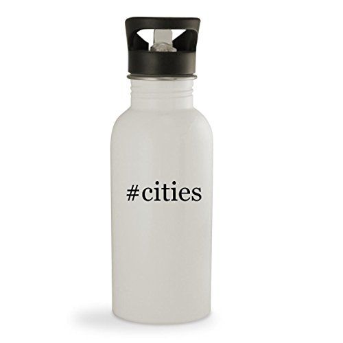 #cities - 20oz Hashtag Sturdy Stainless Steel Water Bottle, White (Costume Store Orlando)