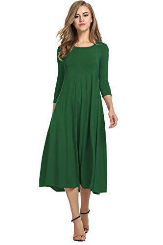HOTOUCH Women's Loose Knit Midi Long Flared Dress (Dark Green M)