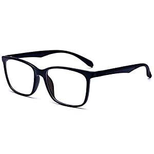 ANRRI Blue Light Blocking Computer Glasses for UV Protection Anti Eyestrain Anti Glare Transparent Lens Lightweight Frame Eyeglasses, Black, Unisex(Men/Women)