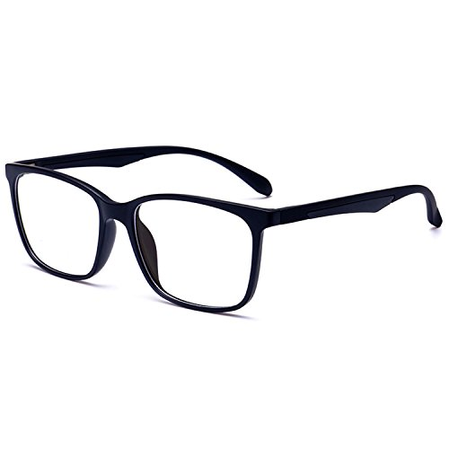 ANRRI Blue Light Blocking Glasses for Computer Use, Anti Eyestrain UV Filter Lens Lightweight Frame Eyeglasses, Black, Men/Women