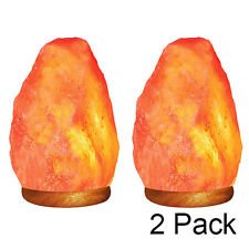 2 Pack - Natural Himalayan Rock Salt Lamp 6-7 lbs with Wood Base, UL Approved Electric Wire, with Dimmer & Bulb