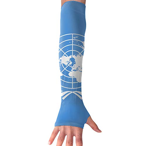 (United Nation Flag Stylish Sun Protection Sleeve Sports Arm Sleeves Cooling Outdoor Gloves for Men Women)