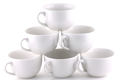 Oxford Gourmet Extra Large Mug (Set of 6)- Pure White (Jumbo Cup Porcelain)