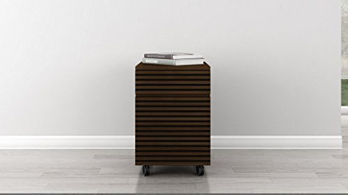 Furnitech 2 Drawer Mid - Century Modern Rolling File Pedestal with a Cognac Finish Over Brazilian Cherry veneers