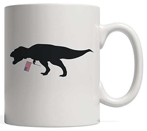 T Rex And American Flag Mug 4th Of July Dinosaur USA Gift - For America Patriot Paleontologist Who Loves Dinosaurs Creatures Like Tyrannosaurus T-Rex, Stegosaurus and Triceratops