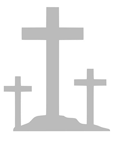 3 Crucifix Crosses Sticker Decal Vinyl (Grey, 12''x8'')