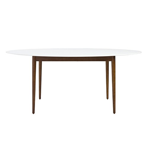 Euro Style Manon Matte White Lacquered Top with Solid Wood Legs Finished in Walnut Dining Table, Oval