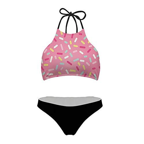 Tsinson Women Juniors Brazilian Bikinis Vintage Pink Colored Donut Sprinkles Print High Neck Halter Two Piece Swimsuit XXL