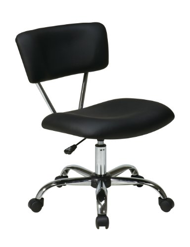 Avenue Six AVE SIX Vista Faux Leather Seat and Back Task Chair with Chrome Accents, Black Avenue Mid Back Chair