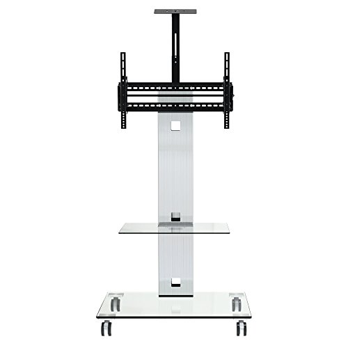 OLLO TRA-R Top Rated Rolling TV Cart World-Wide,Institutional Quality,Brushed Aluminum and Tempered Glass, for LED LCD TVs 37 to 72-Inch,Rotating Column head with Camera holder.