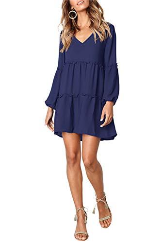 Dress V Swing Long Neck Ruffle Sleeve Women's VIVOSKY Loose Dress Dark Blue Tunic qBwZ1vSH