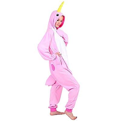 Seeshine Narwhal Unicorn Adult Unisex Onesies Animal Cartoon Whale Home Wear Cosplay Pajamas
