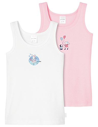 Schiesser Mädchen Unterhemd 2pack Hemd 0/0, 2er Pack, Mehrfarbig (Sortiert 1 901), 104