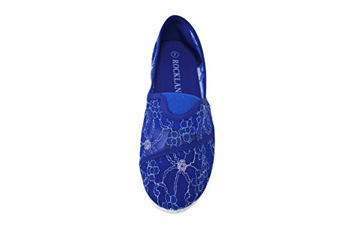 Shoelace Womens Slip On Foral Lace Flats Shoes Canvas Net Ballerina Rhinestone Flat Casual Boat 15-royal Blue SHLV5