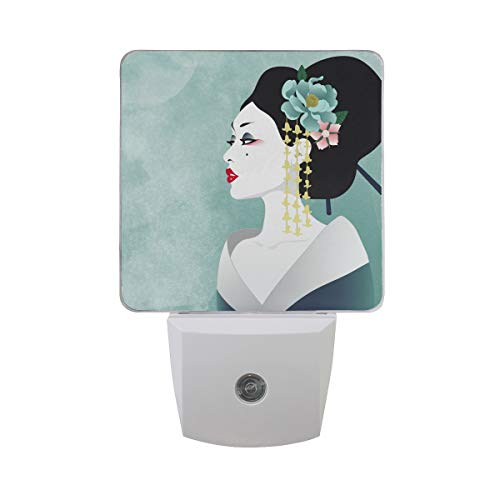 Japanese Woman Geisha LED Night Light Lamp with Dusk to Dawn Sensor for Bedroom Bathroom Hallway Stairways