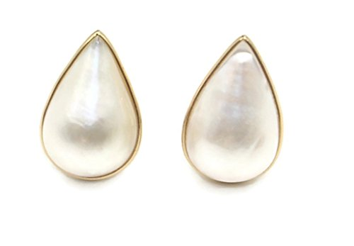 - Mabe Pearl White Pear Earrings,14k Yellow Gold Omega Backs