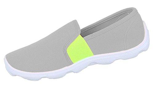 Damen Halbschuhe Lace up Schuhe sportliche Slipper Schwarz grau blau pink orange weiss 36 37 38 39 40 41 Grau