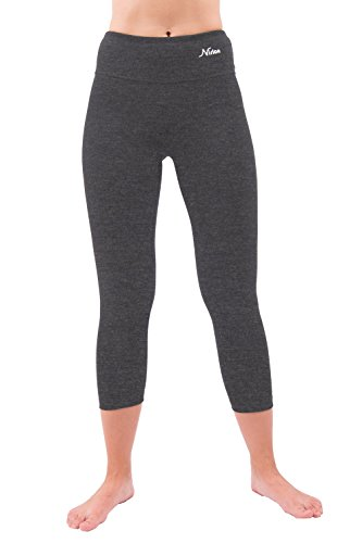 Nirlon Capri Yoga Pants Capri's for Women Best Cropped Leggings Athletic Running Jogging Workout & Sport Cotton Spandex (S, Charcoal 22