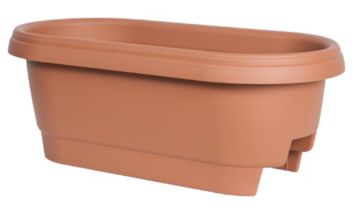 Fiskars 24 Inch Deck Rail Planter Box, Color Clay