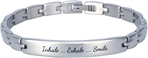 Elegant Surgical Grade Steel Womens Inspirational Quote Mantra Bracelet, Many Styles (Inhale. Exhale. Smile.)