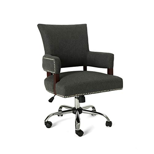 Christopher Knight Home Maye Traditional Home Office Chair, Dark Gray and Chrome