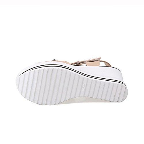 AllhqFashion Mujeres Sólido Plataforma Puntera Abierta Velcro Sandalia Albaricoque