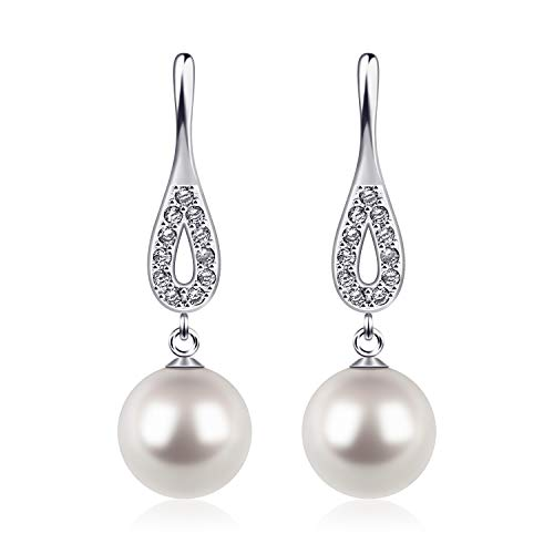 D.Perlla Sterling Silver Pearl Earrings with Crystal Dangle Women Earrings Bridal Ear Studs Betrothal Gifts.