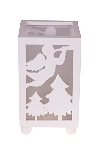 Clever Creations Christmas Angel Flameless LED Candle Table Top Candle Holder Durable Painted Wood | Angel with Trumpet | Measures 4.25