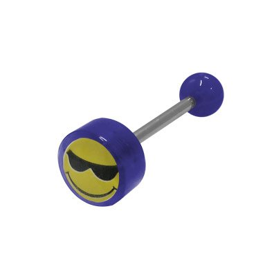 BodyJewelryOnline Smiley Face Logo Barbell Tongue Ring - Dark Blue Acrylic Beads