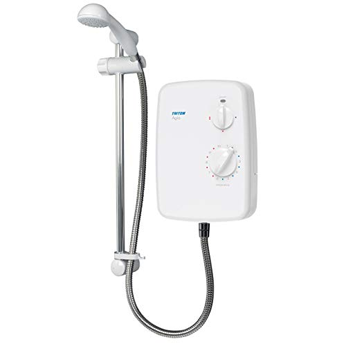 Triton Showers REAGI08WC Agio - Ducha electrica con elevador (8,5 kW), color blanco