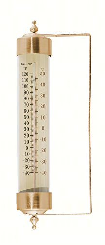Headwind Consumer Products 840-0083 Premium Metal and Glass Vertical Thermometer, Antique Brass (Brass Metal Thermometer)