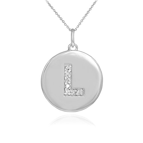 """Petits Merveilles D'amour - 10 ct Or Blanc 471/1000 première lettre """"L"""" Collier pendentif en forme de diamant Disc"""