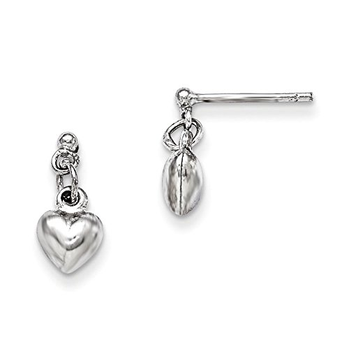 Sterling Silver Rhodium Plated Childs Polished Heart Post Dangle Earrings