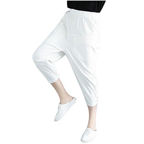 la Sarouel Boho DContract Jeans Coton Overmal Et Taille Les Yoga Neuf Poches Trousers Cordon Jambe Blanc Sport Un Haute Longueur de Cheville Pants Femme lastique Lger Pantalon Plaid Hq4qCEvw