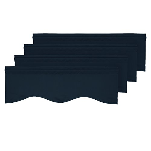 (Deconovo Blackout Scalloped Valance Curtains Short Tier Valances for Small Window 52x18 Inch Navy Blue 4 PCS)