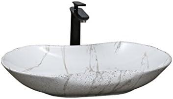 XZ 浴室のシンクラウンドセラミックドレッサーステージアート洗面台パーソナリティアート洗面台付き蛇口水セット66.5×41×11.5センチ 容器シンク