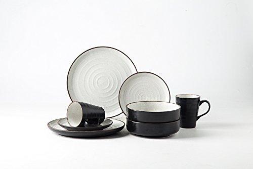 Pangu 8-Piece Porcelain Dinnerware Sets, WESTERN, Black and