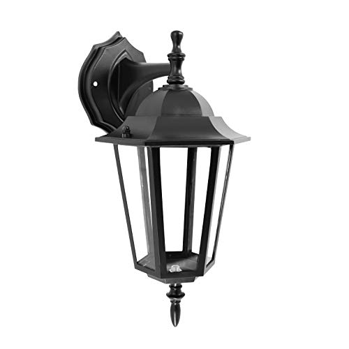 IN HOME One-Light Outdoor Wall Down Lantern, Exterior Light Fixtures with One E26 Base, Wet Rated, Black Matte Finish Cast Aluminum Housing with Clear Glass Shade, ETL Listed ()