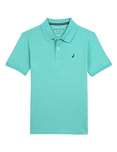 Nautica Big Boys' Short Sleeve Striped Deck Polo Shirt, fred Pool Blue Large (14/16)