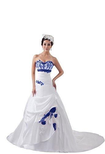 - AMBRIDAL Women's A-Line Sweetheart Court Train Satin Zipper-back Wedding Dress Tailor-made 26W Royal Blue