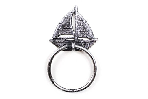 Handcrafted Nautical Decor Rustic Silver Cast Iron Sailboat Towel Holder 8