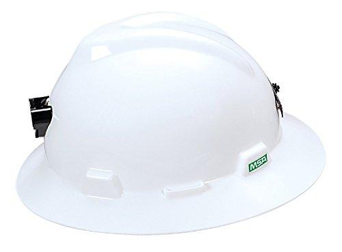 MSA 460069 Polyethylene V-Gard Slotted Full-Brim Hat with Staz-On Suspension, Lamp Bracket and Cord Holder, White