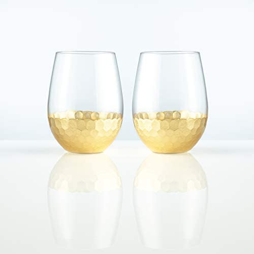 Burns Glass Stemless Wine Hammered Gold Glasses I Crystal Wine Glasses with Honeycomb Design, White and Red Wine Glasses Set for Parties, Date Nights, Formal Dinners, Wine Tasting (18oz Set of two)