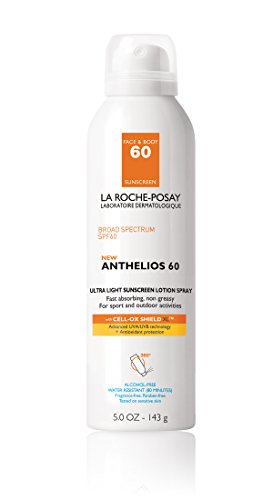 La Roche-Posay Anthelios 60 Sunscreen Spray, Ultra-Light Lotion for Face and Body, Water Resistant with SPF 60, 5 Fl. Oz.